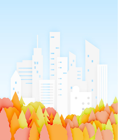 Beautiful Autumn leaves and city paper cut style background vector illustration Illustration