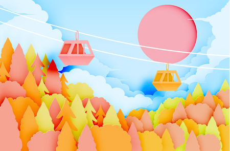 Cable car paper art style with beautiful landscape in autumn background vector illustration