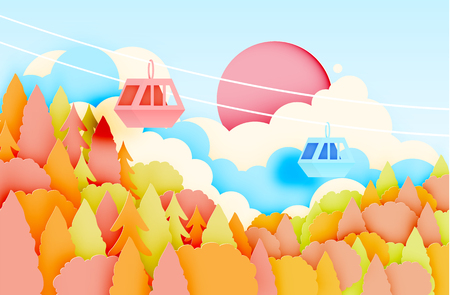 snowy hill: Cable car paper art style with beautiful landscape in autumn background vector illustration