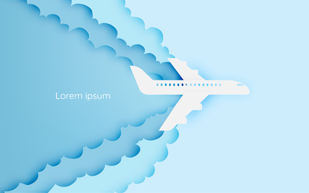 on top of the world: Airplane aerial view paper art with beautiful background vector illustration