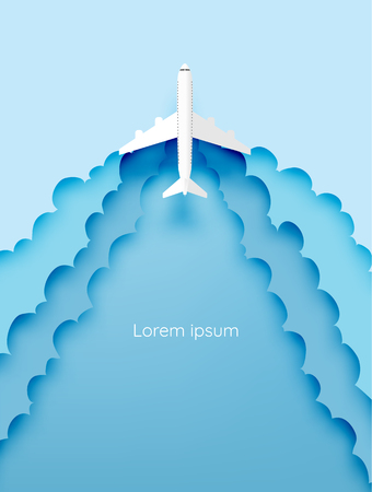 Document van de vliegtuig de luchtmening kunst met mooie vectorillustratie als achtergrond
