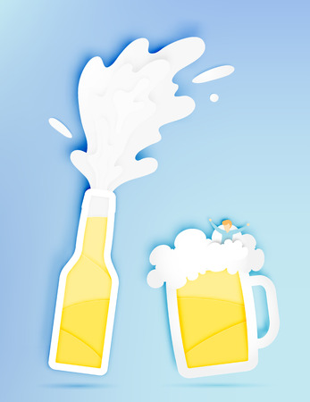 Botte and glass of beer with bubble and funny man in paper cut style vector illustration