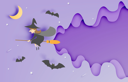 moon shadow: Witch on the broom paper art style with sky in the night for halloween background vector illustration