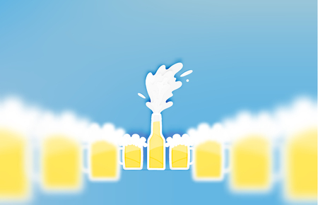 brewery: Bottle and glass of beer with bubble in paper cut style vector illustration