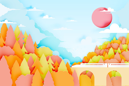 The train with mountain background and beautiful landscape in autumn background vector illustration Illustration