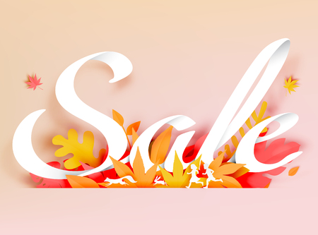 Autumn leaves paper cut style with sale calligraphy hand lettering, discount concept  background vector illustration