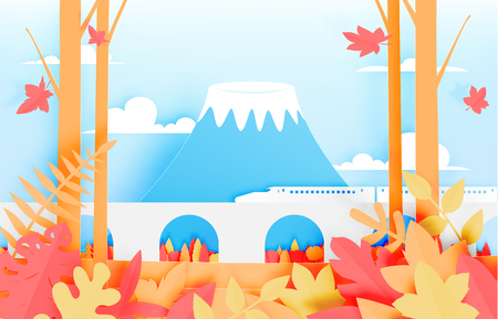 The train with mountain illustration. Illustration