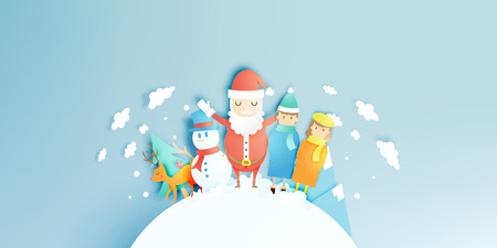 Santa claus, couple, snowman and reindeer in paper art style with snow background vector illustration