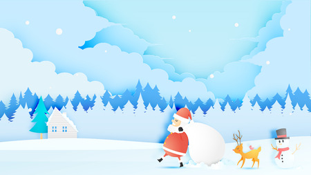 Santa claus, snowman and reindeer in paper art style with snow and snowflake background vector illustration