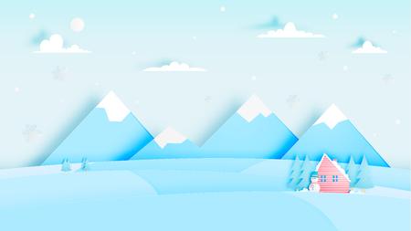 Winter landscape with paper art style and pastel color scheme vector illustration Illustration