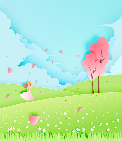 Beautiful girl with cherry blossom tree in the grass field paper art style vector illustration Ilustração
