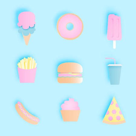 Junkfood icon pack in paper art with pastel color scheme style vector illustration  Illustration