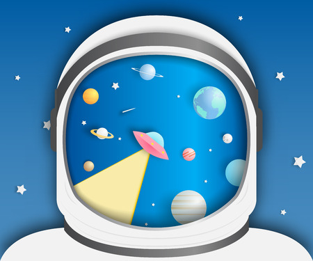 Astronaut and Paper UFO beam and solar system paper art background vector illustration Illustration