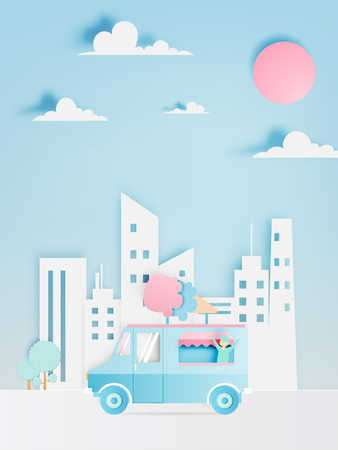 Ice cream food truck in paper art digital craft style and pastel color scheme with city background.