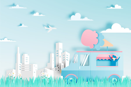 Ice cream food truck in paper art digital craft style and pastel color scheme with city background vector illustration