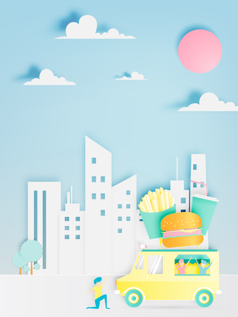 Hamburger food truck in paper art digital craft style and pastel color scheme with city background vector illustration