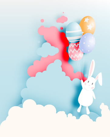 Happy easter day in paper art style with bunny and eggs vector illustration