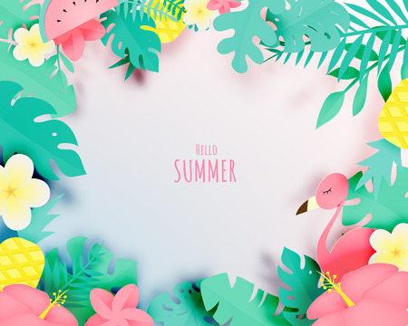 Tropical floral with flamingo in paper art style and pastel color scheme background vector illustration Vectores