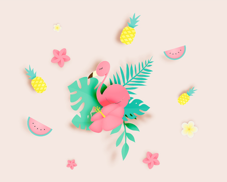 Tropical floral with flamingo in paper art style and pastel color scheme background vector illustration 矢量图像