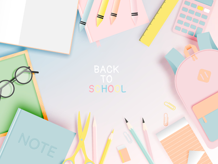 Various stationery for back to school in paper art style with pastel color vector illustration