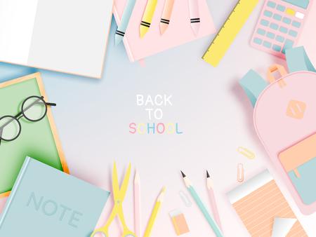Verschiedene Schreibwaren für den Schulanfang im Papierkunststil mit Pastellfarbvektorillustration