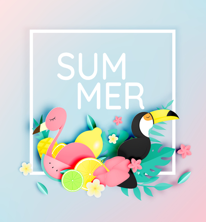 Tropical floral with flamingo and toco toucan in paper art style and pastel color scheme background vector illustration