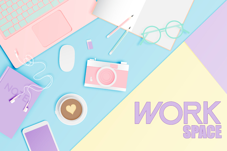 Workspace flat lay stationery in paper art style with pastel color scheme background vector illustration Vettoriali