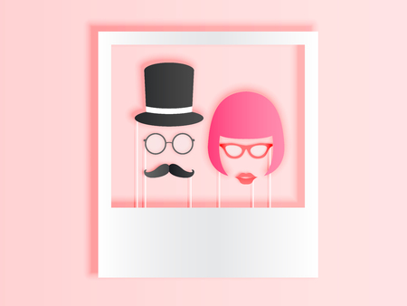 Photo booth items for couple in paper art style with pastel color scheme vector illustration