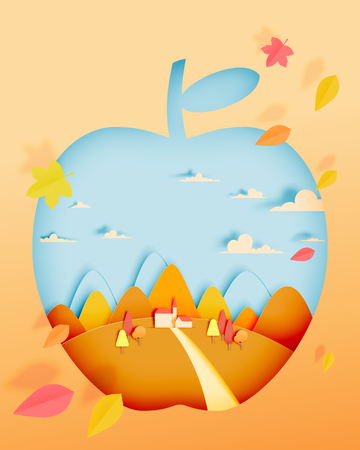 Apple with autumn leaves and beautiful landscape in paper art style and pastel background vector illustration Illustration
