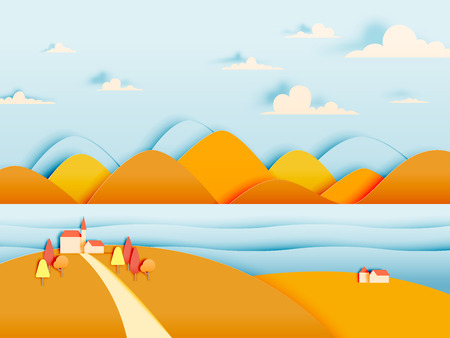 The house and mountain with beautiful landscape in autumn background vector illustration Illustration