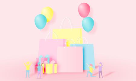 Bolsa de compras y caja actual con gente divertida en estilo de arte de papel y esquema de colores pastel