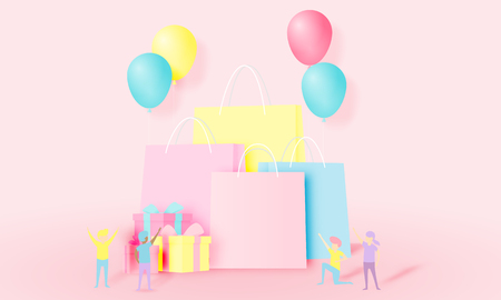 Shopping bag and present box with funny people in paper art style and pastel scheme vector illustration