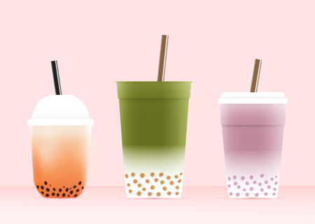 Bubble tea with various glasses in pastel color scheme vector illustration Stock Illustratie