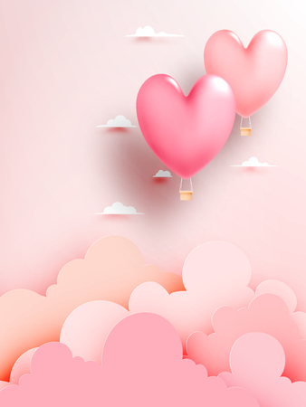 Heart hot air balloon paper art style with pastel sky background vector illustration
