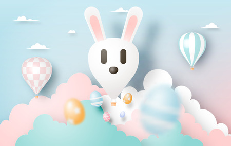 Happy easter day in paper art style with bunny hot air balllon and eggs vector illustration