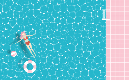 Woman floating in the pool with paper art style and pastel color vector illustration
