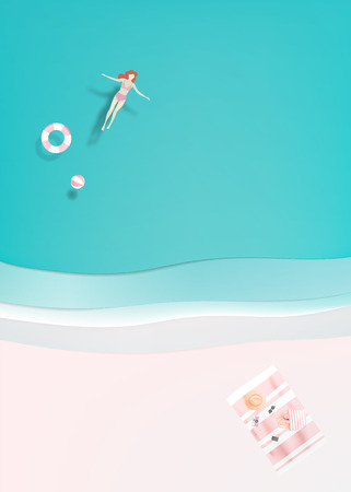 Woman floating in the sea with paper art style and pastel color vector illustration