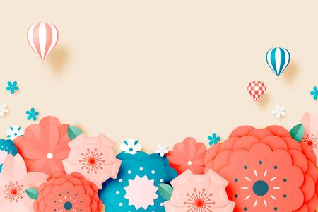 Beautiful floral paper art with pastel color scheme vector illustation