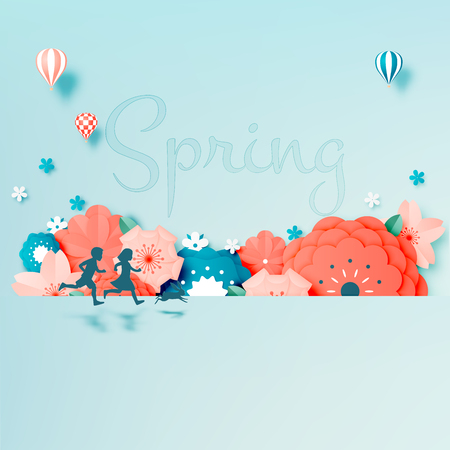 Beautiful floral paper art with pastel color scheme vector illustation