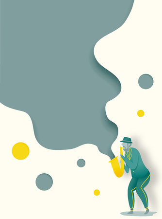 Man play saxophone in dribble and paper art style vector illustration Stockfoto - 124853245