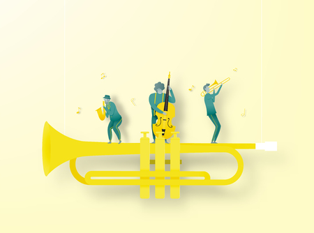 Man play saxophone in dribble and paper art style vector illustration Standard-Bild - 124773964