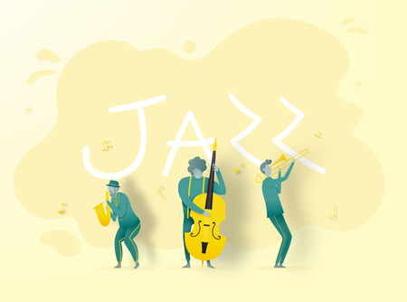 Man play saxophone in dribble and paper art style vector illustration Stockfoto - 124773965