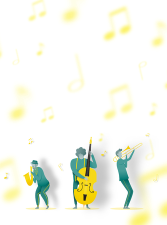 Man play saxophone in dribble and paper art style vector illustration Stockfoto - 124773966