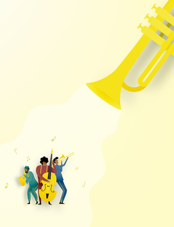 Band play jazz music in dribble and paper art style vector illustration