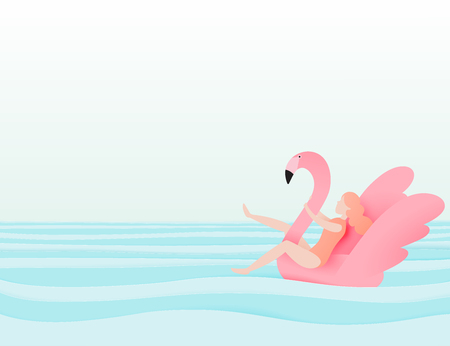 Girl floating on the beach with flamingo with beautiful sea background paper cut style vector illustration