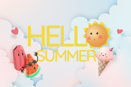Hello Summer with Tropical fruits and ice cream in cartoon art style and pastel color scheme background vector illustration