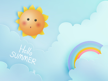 Hello summer with cute sunny and paper art sky background and pastel color scheme vector illustration Stock Illustratie