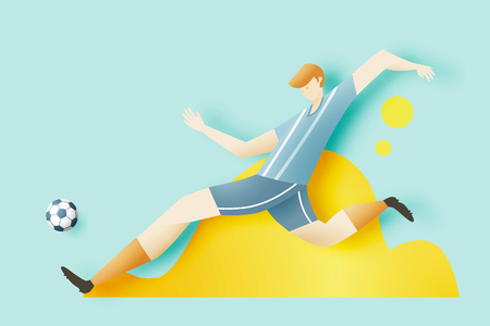 Man play soccer with cool character design for sport background vector illustration