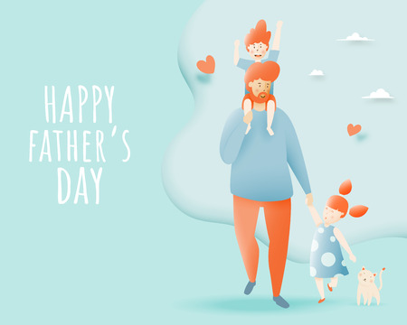 Happy father's day with father and son and daugther with pastel scheme and paper art vector illustration