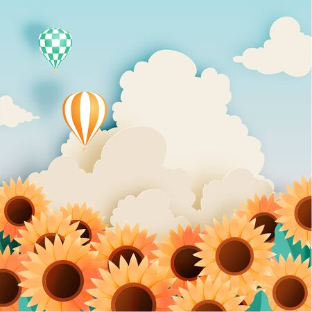 Sunflower field with paper art style and pastel scheme vector illustration